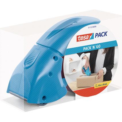 "tesapack Handabroller ""pack ""n"" go"", blau, bestückt"