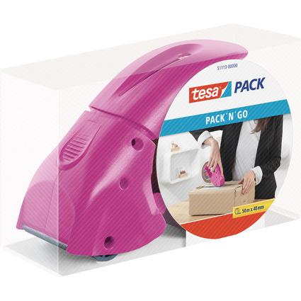 """tesapack Handabroller """"pack 'n' go"""", pink, bestückt"""