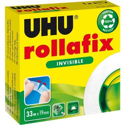 "UHU ruban adhésif ""rollafix"", invisible, 19 mm x 33 m"