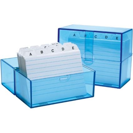 WEDO Karteikasten A7 quer, blau-transparent, bestückt