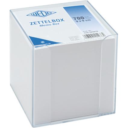 WEDO Zettelbox, aus Kunststoff, glasklar, Füllung: weiß