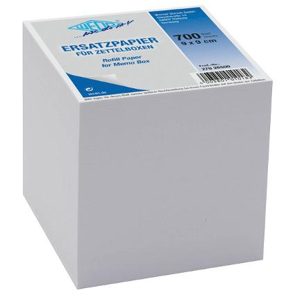 WEDO Zettelboxeinlage, 90 x 90 mm, weiß, 700 Blatt