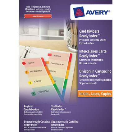 AVERY Intercalaires Readyindex, 12 touches numérique, A4