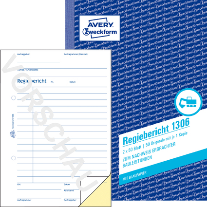 "AVERY Zweckform Formularbuch ""Regiebericht"", 2 x 50 Blatt"