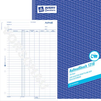 "AVERY Zweckform Formularbuch ""Aufmaß"", A4, 100 Blatt"