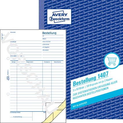 """AVERY Zweckform Formularbuch """"Bestellung"""", A5, 3 x 50 Blatt"""