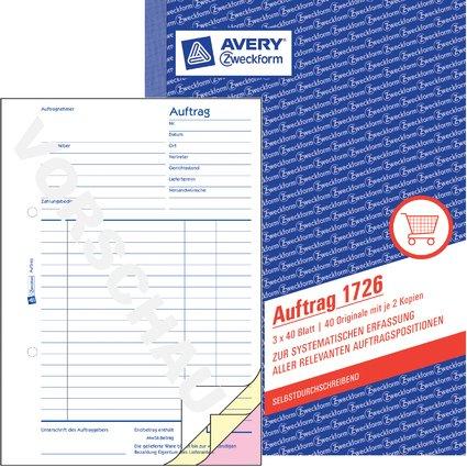 """AVERY Zweckform Formularbuch """"Auftrag"""", SD, A5, 3 x 40 Blatt"""