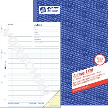 """AVERY Zweckform Formularbuch """"Auftrag"""", SD, A4, 2 x 40 Blatt"""