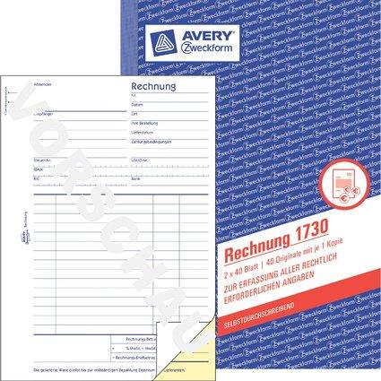 "AVERY Zweckform Formularbuch ""Rechnung"", SD, 2 x 40 Blatt"