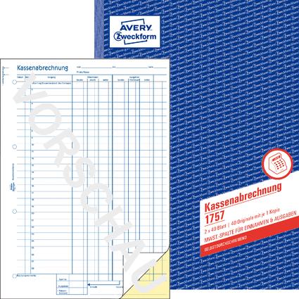 "AVERY Zweckform Formularbuch ""Kassenabrechnung"", SD, A4"