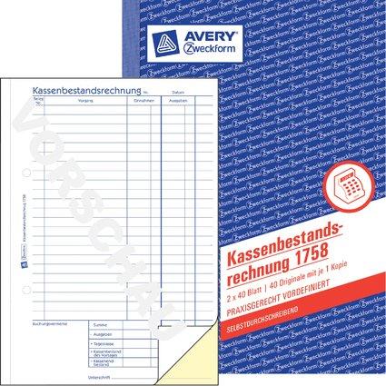 """AVERY Zweckform Formularbuch """"Kassenbericht/Bestand"""", A5"""