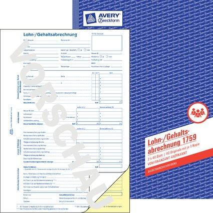 "AVERY Zweckform Formularbuch ""Lohnabrechnung"", SD, A4"