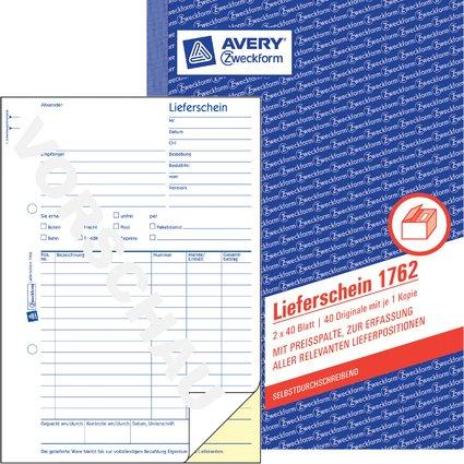 """AVERY Zweckform Formularbuch """"Lieferschein mit Preisspalte"""""""
