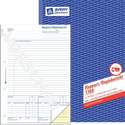 """AVERY Zweckform Formularbuch """"Rapport/Regiebericht"""", SD, A4"""