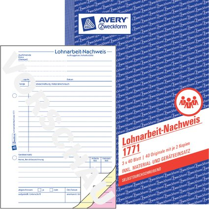"""AVERY Zweckform Formularbuch """"Lohnarbeit-Nachweis"""", SD, A5"""