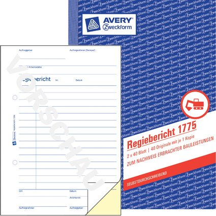 "AVERY Zweckform Formularbuch ""Regiebericht"", 2 x 40 Blatt"