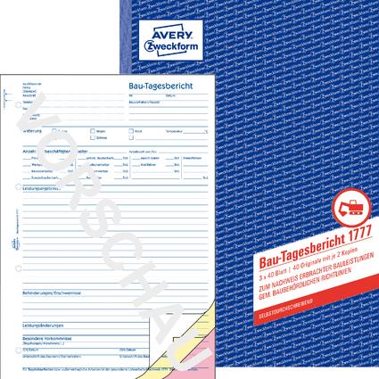 """AVERY Zweckform Formularbuch """"Bau-Tagesbericht"""", SD, A4"""