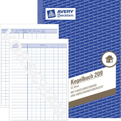"AVERY Zweckform Formularbuch ""Kegelbuch"", A5, 52 Blatt"