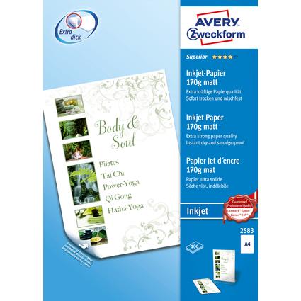 AVERY Zweckform Inkjet-Papier, DIN A4, 170 g/qm, weiß