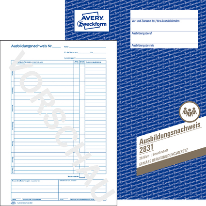 "AVERY Zweckform Formularbuch ""Ausbildungsnachweis"", A4"