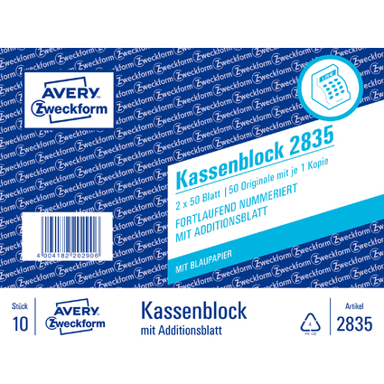 "AVERY Zweckform Formularbuch ""Kassenblock"", 2 x 50 Blatt"