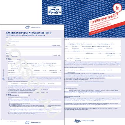 """AVERY Zweckform Vordruck """"Einheitsmietvertrag"""", SD, A4"""