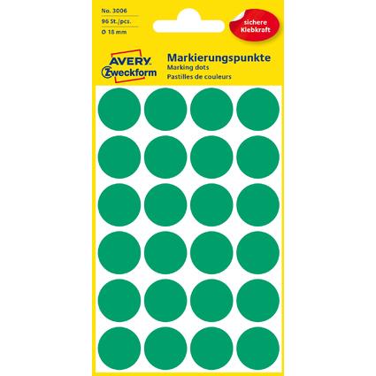 AVERY Zweckform Markierungspunkte, Durchmesser 18 mm, grün