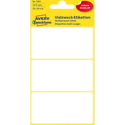 AVERY Zweckform Vielzweck-Etiketten, 76 x 39 mm, weiß, KP