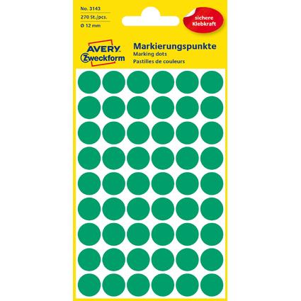 AVERY Zweckform Markierungspunkte, Durchmesser 12 mm, grün