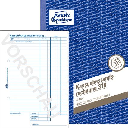 """AVERY Zweckform Formularbuch """"Kassenbericht Bestand"""", A5"""