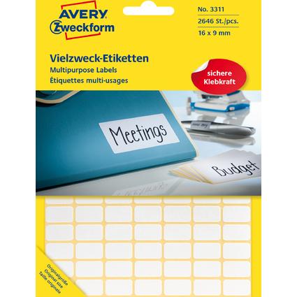AVERY Zweckform Vielzweck-Etiketten, 16 x 9 mm, weiß, FP