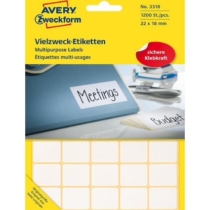 AVERY Zweckform Vielzweck-Etiketten, 22 x 18 mm, weiß, FP