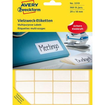 AVERY Zweckform Vielzweck-Etiketten, 29 x 18 mm, weiß, FP