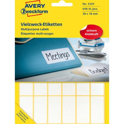 AVERY Zweckform Vielzweck-Etiketten, 38 x 18 mm, weiß, FP