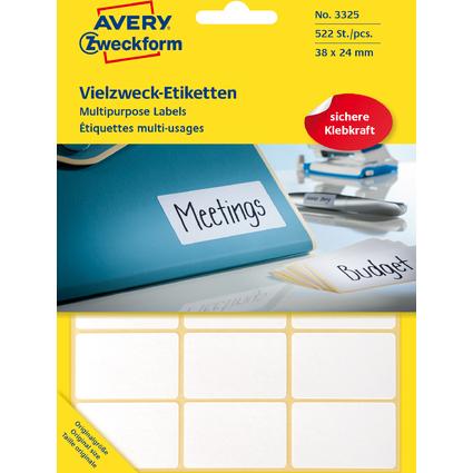 AVERY Zweckform Vielzweck-Etiketten, 38 x 24 mm, weiß, FP