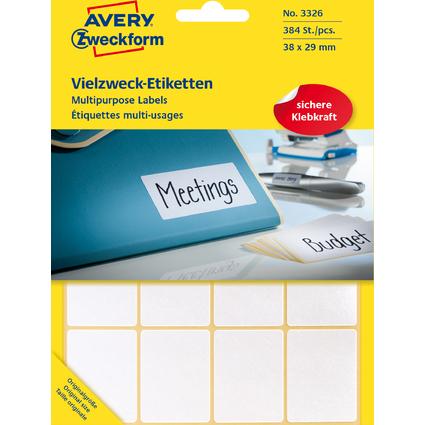 AVERY Zweckform Vielzweck-Etiketten, 38 x 29 mm, weiß, FP