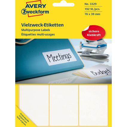 AVERY Zweckform Vielzweck-Etiketten, 76 x 39 mm, weiß, FP