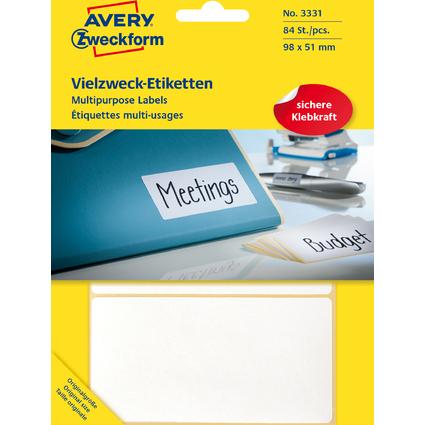 AVERY Zweckform Vielzweck-Etiketten, 98 x 51 mm, weiß, FP