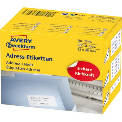 AVERY Zweckform Adress-Etiketten, 92 x 48 mm, auf Rolle
