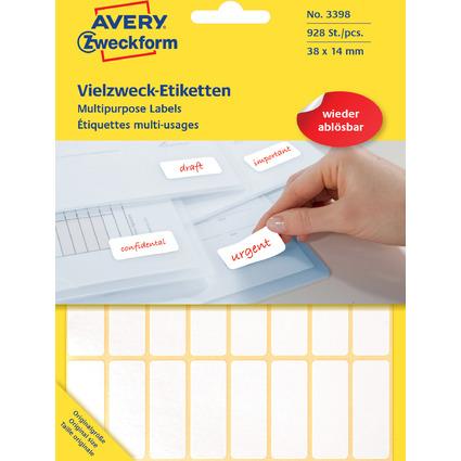 AVERY Zweckform Vielzweck-Etiketten, 38 x 14 mm, ablösbar