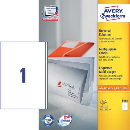 AVERY Zweckform Universal-Etiketten, 200 x 297 mm, weiß