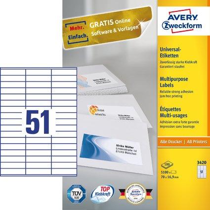 AVERY Zweckform Universal-Etiketten, 70 x 16,9 mm, weiß