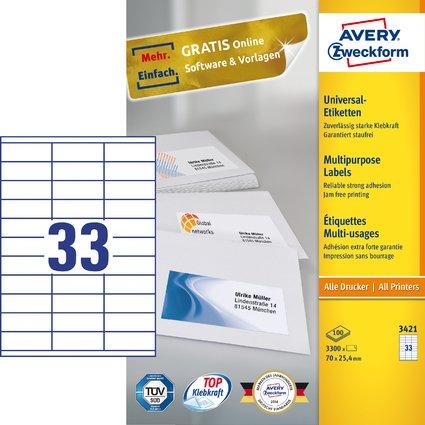 AVERY Zweckform Universal-Etiketten, 70 x 25,4 mm, weiß