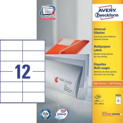 AVERY Zweckform Universal-Etiketten, 105 x 48 mm, weiß