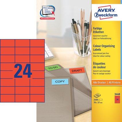 AVERY Zweckform Universal-Etiketten, 70 x 37 mm, rot
