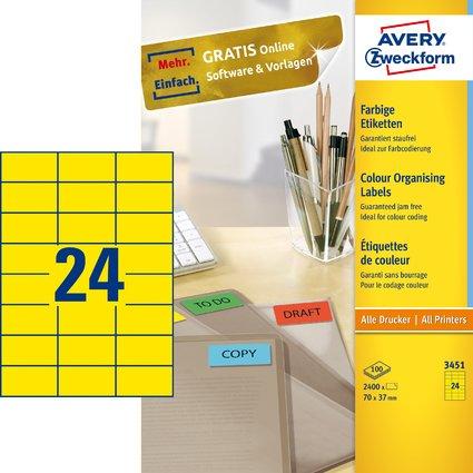 AVERY Zweckform Universal-Etiketten, 70 x 37 mm, gelb
