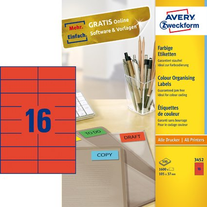 AVERY Zweckform Universal-Etiketten, 105 x 37 mm, rot