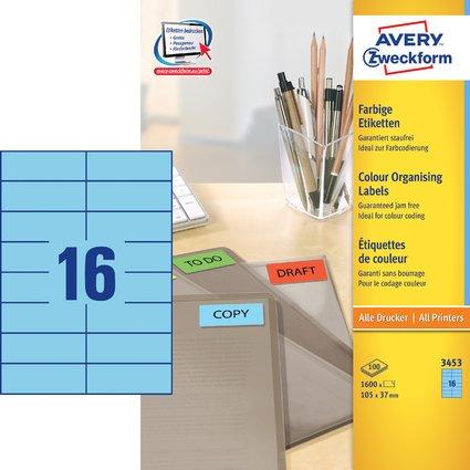 AVERY Zweckform Universal-Etiketten, 105 x 37 mm, blau