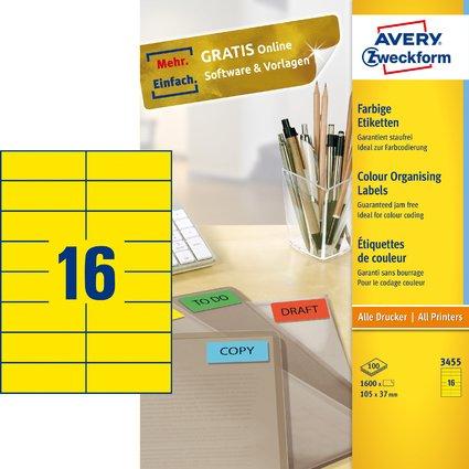 AVERY Zweckform Universal-Etiketten, 105 x 37 mm, gelb