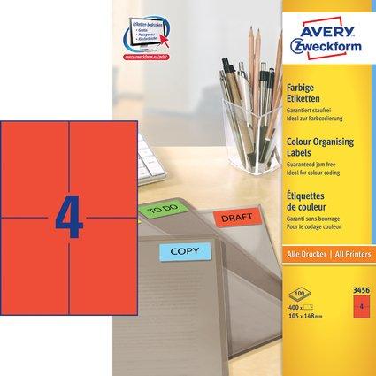 AVERY Zweckform Universal-Etiketten, 105 x 148 mm, rot
